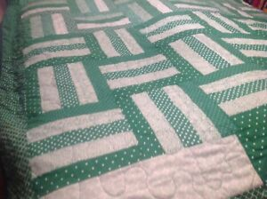 Double-Size-Green-amp-White-Rail-Fence-Quilt