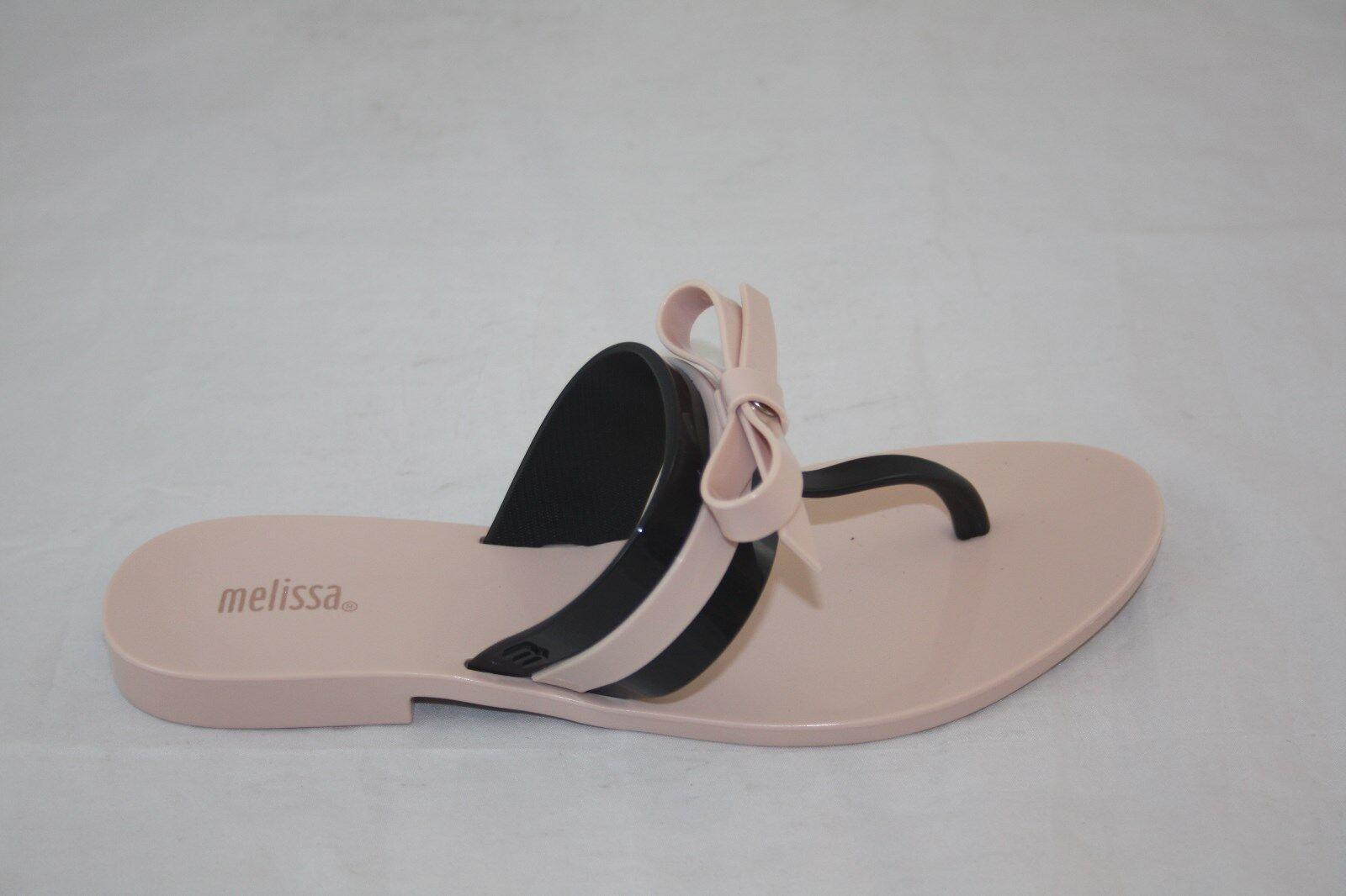 NEW WMNS 31681 MELISSA BLACK GAROTA AD 51647 PINK BLACK MELISSA BOW THONG SANDAL 06616c