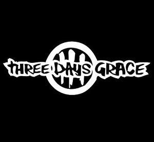 1-x-Three-Days-Grace-sticker-30cm-long-WHITE-decal-rock-metal-band-car-window