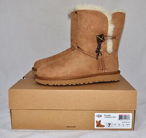 57b9a589c28 Details about $190 UGG Lilou Button Charm Swarovski Tassel Boots Classic  Chestnut 6 7 8 9 10