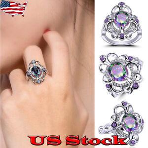Rainbow-White-Topaz-Flower-Ring-Purple-Amethyst-Black-Gold-Women-Jewelry-Sz-6-10