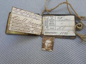 Erkennungsmarke eines Soldaten der K.u.K.Truppen aus Wien in Österreich