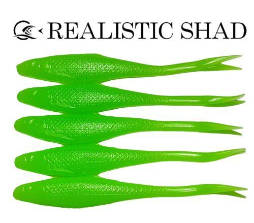 Realistic Shad Gudgeon 8cm Predator Tackle Lure X5 Perch chartreuse Zander.
