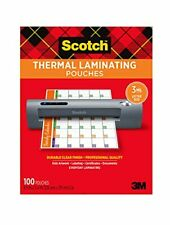 Scotch Thermal Laminating Pouches 100 Pack 89 X 114 Inches Letter Size Shee