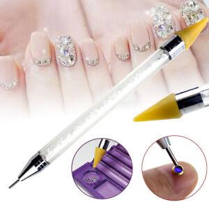 Nail-Art-Rhinestone-Picker-Wax-Pencil-Dual-ended-Dotting-Pen-Crystal-Bead-Handle