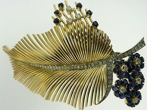 CARTIER-LEAF-BROOCH-PIN-18K-YELLOW-GOLD-DIAMONDS-1-85CTS-SAPPHIRES-2-25-CTS-1940