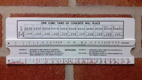Concrete Slide Ruler 200 Yard Volume Calculator Slide Rule MADE IN USA!!!!
