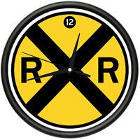 Railroad Wall Clock Sign Crossing Xing Model Track Rr