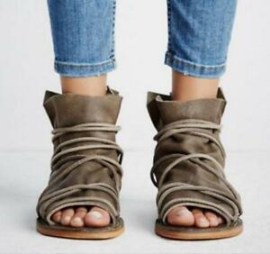 Summer-Women-Leather-Flats-Open-Toe-Strap-Gladiator-High-Top-Ankle-Boots-Sandals