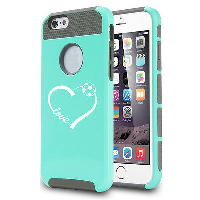 For iPhone X SE 5 5s 6 6s 7 8 Plus Shockproof Impact Hard Case Love Heart Soccer