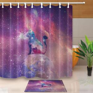 La Foto Se Esta Cargando Galaxy Nebula Gato Cortina De Ducha Tela Impermeable