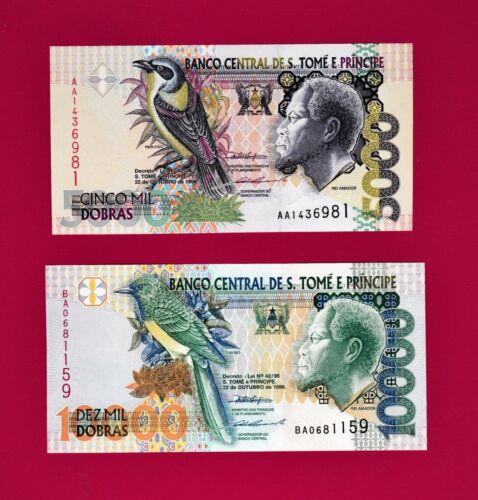 Thomas /& Prince 1996 Notes: 5000 Dobras /& 10,000 Dobras 1996 UNC St P65 P66