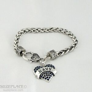 NEW-NAVY-BLUE-CRYSTAL-HEART-CHARM-SILVER-BRACELET-HEART-TOGGLE-CLASP-MILITARY