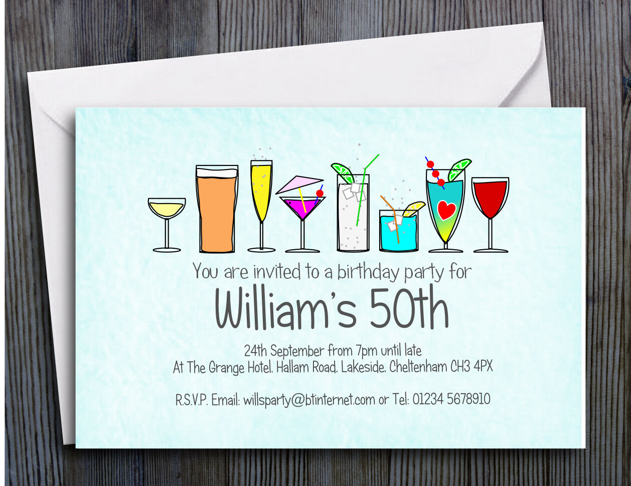 70 PARTY INVITATIONS PERSONALISED 18th 21st 30th 40th 50th 60th Birthday Invites