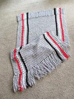 Handmade simple Stripes Pattern Crochet Afghan/throw/blanket Gray -