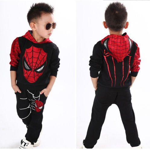 2PCS Kids Boy Spiderman Sweatshirt Tracksuit Hoodies Tops+Long Pants Set Outfit