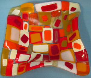 Art-Glass-Mosaics-Candy-Coin-Dish-Red-Orange-Gold-Square-7-034