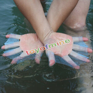 Swimming-Finger-Webbed-Gloves-Frog-Hand-Gear-Fins-Palm-Flippers-Paddle-Silicone