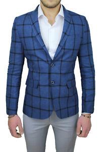 Giacca In Elegante Blu Uomo Fantasia Formale Blazer Lino Andrea Marinelli Quadri qwpOAgqf