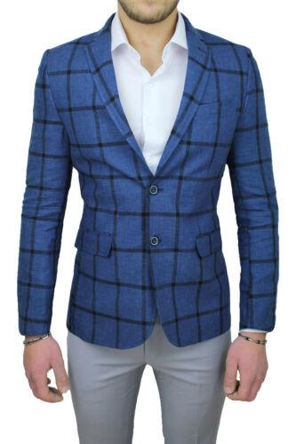 para In Check Lino Chaqueta Blue 100 Marinelli hombre Italy Élégant Made Sartorial d7xxvq0
