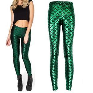Women-Mermaid-Fish-Scale-Skinny-Stretch-Slim-Pants-Fashion-Leggings-Plus-Size-43