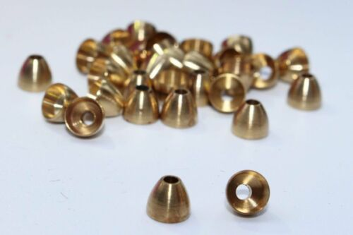 40pcs//lot Copper Brass Cone Heads Tube Flies Streamers Fly Tying Beads Materials