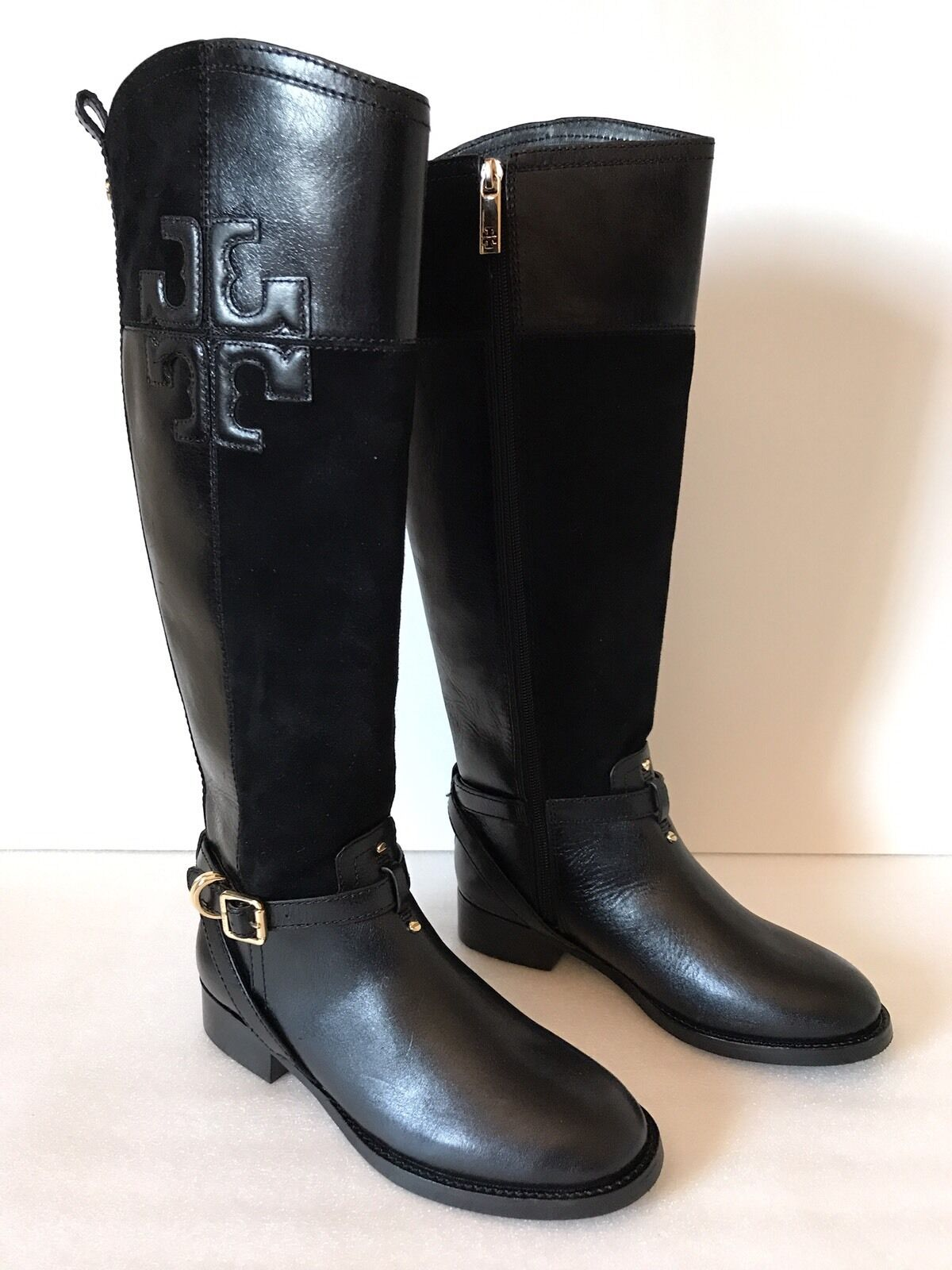 Tory Burch Lizzie Leather Suede Riding Boots Black Size 5M