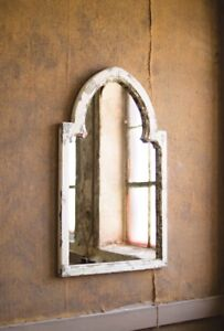 Details About Arched Wood Framed Mirror Distressed White Gold Accents Cottage Farmhouse 35 H