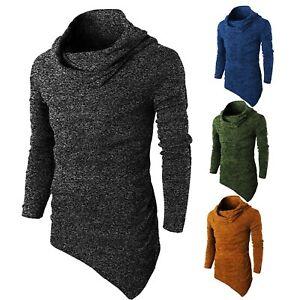 90095a353 Men's Side Pocket T Shirt Hip Hop Tops Collar Swag Asymmetrical Long ...