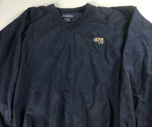 Orton-III-Windbreaker-Jacket-VTG-90s-Mens-XL-2XL-Golf-Navy-Blue-Pullover-Nylon