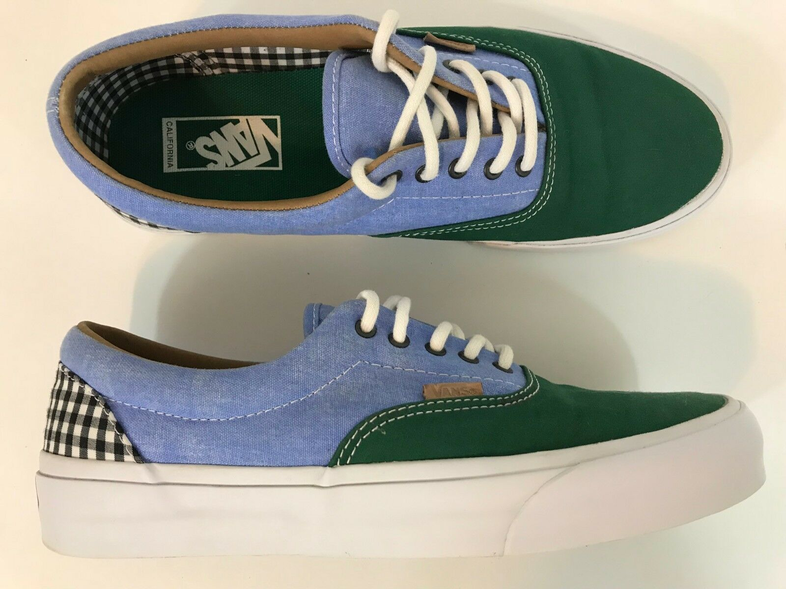 Vans Mens Casual shoes Size 10.5 bluee Green Checker Excellent Fast Shipping