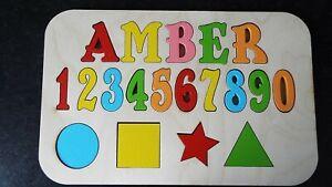 Personnalise-Enfant-039-s-Name-Jigsaw-jusqu-039-a-8-lettres-educatif-en-bois-jouet