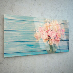 ANY-SIZE-Wall-Art-Glass-Print-Canvas-Picture-Floral-Pink-Flowers-in-Pot-32574855