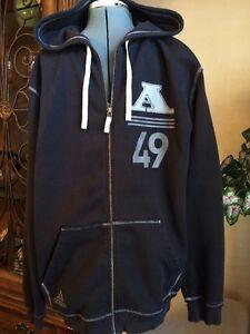 """Adidas Men's Black Full Zip Up Hooded Sweatshirt """"A 49"""" Hoodie Jacket Large L"""