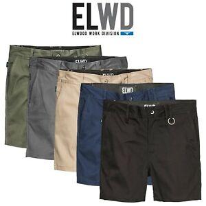 Mens-Elwood-Work-Basic-Shorts-Stretch-Twill-Reinforced-Pockets-Tradie-EWD202