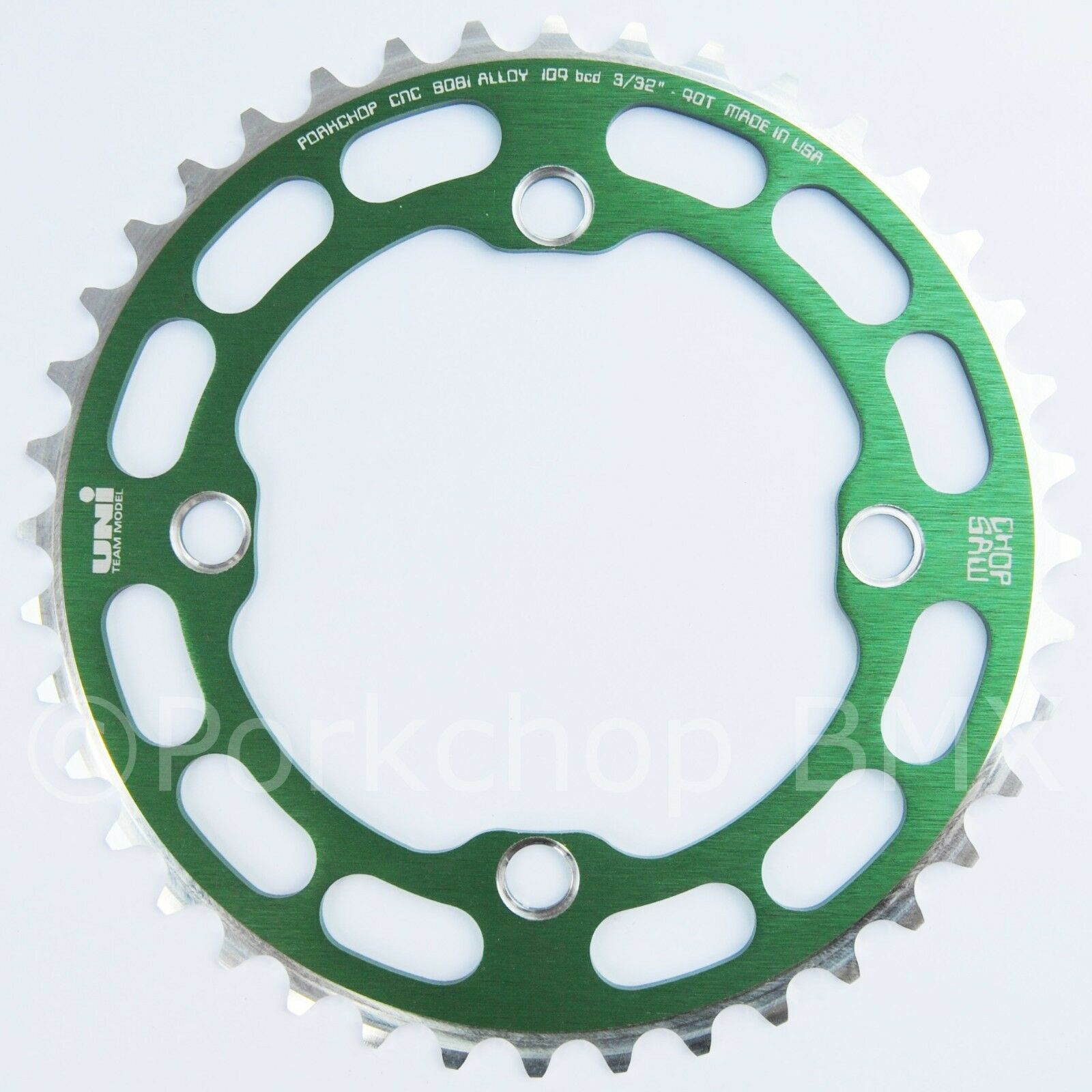 Porkchop BMX single speed bicycle Chop Saw I Chainring 40T 4 bolt 104 bcd GREEN