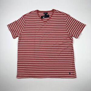 Polo-Ralph-Lauren-Mens-2XLT-Tall-V-Neck-Striped-Short-Sleeve-T-Shirt-Red-White