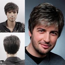 Men Human Short Hair Wig Natural Looking Wigs Mens Straight Layered Style