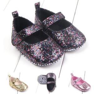 77c8b8f35b0a Cute Baby Girl Glitter Sequin Mary Jane Crib Shoes Newborn Princess ...