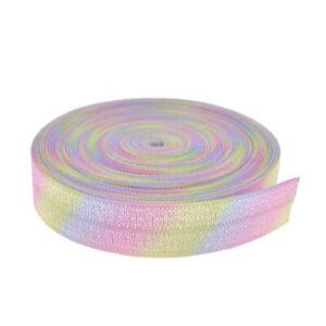 5Yards-Gradient-Rainbow-printed-Stripe-Elastic-Ribbon-Headwear-Hair-Bow-DIY