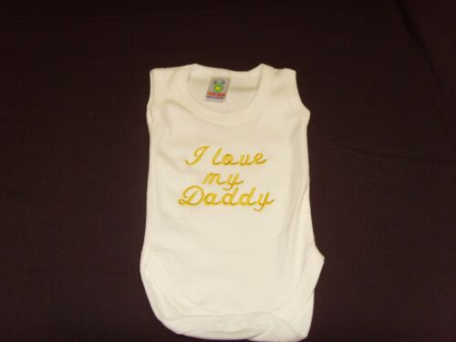 Funny Embroidered Personalised Vest Baby Shower Gift I love my daddy