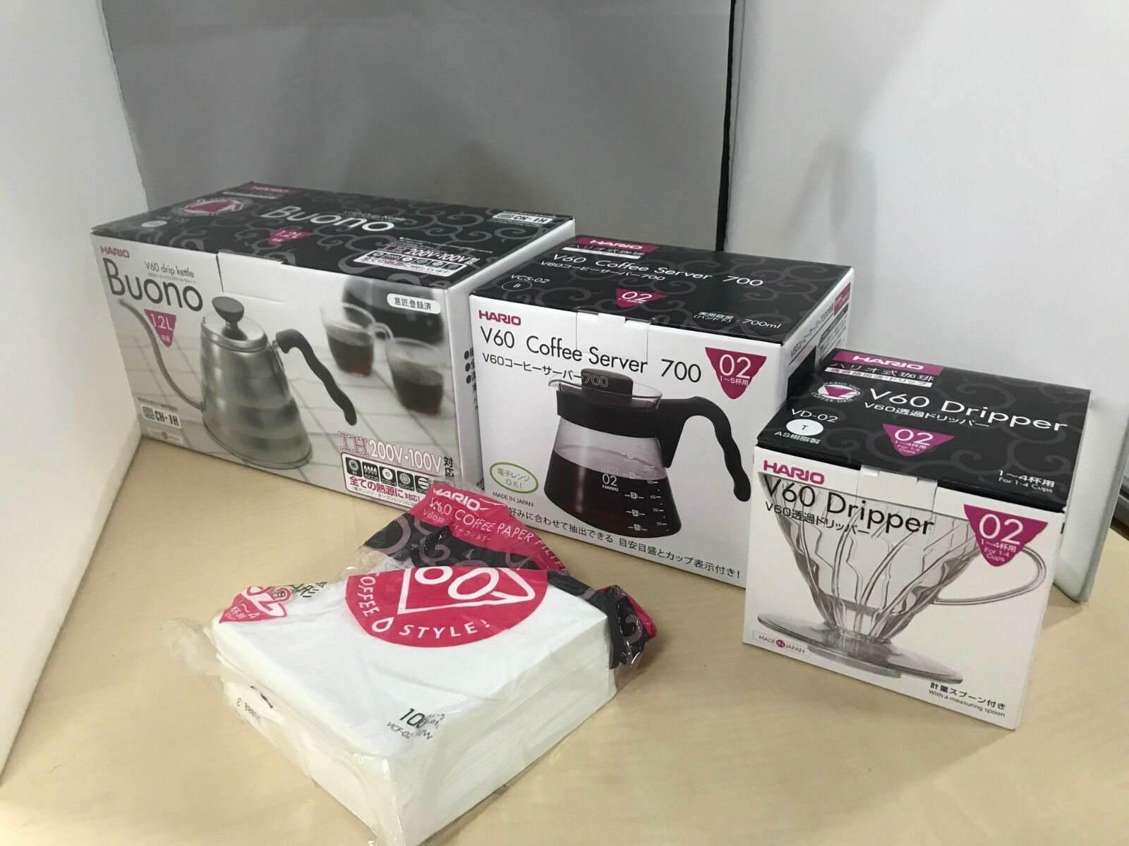 V60 Transparent Coffee Dripper clair café serveur peaper Filtre Bouilloire Set