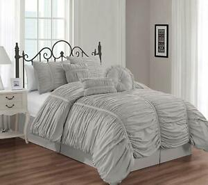 Chezmoi-Collection-Shabby-Chic-Ruched-Ruffle-Duvet-Cover-Set-W-Throw-Pillow-Gray