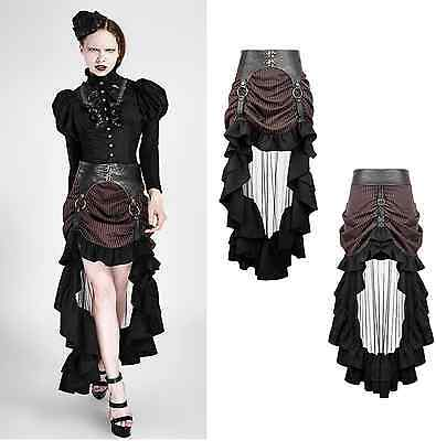 RQ-BL Steampunk Rock Raffung Gothic Western Skirt Pin Up LARP Kunst-Leder SP188