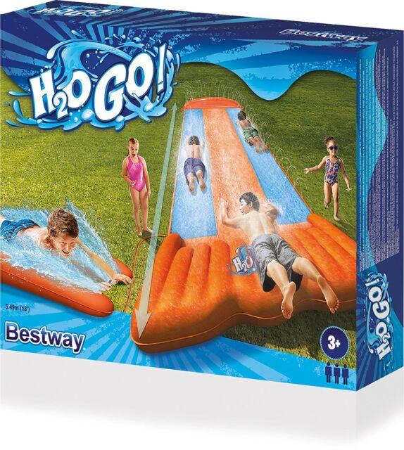 3 TIMES SIZE -  Bestway 5.5m H20 GO WATER SLIP & SLIDE INFLATABLE GARDEN GAME