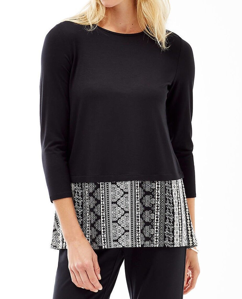 NWT - J. Jill - XL - The Wearever Colllection  Great Crew-neck schwarz Multi Top