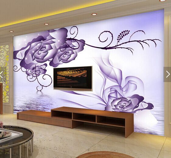 3D lila Petals Water River Paper Wall Print Wall Decal Wall Deco Indoor Murals