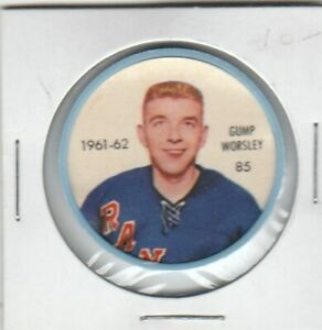 1961-62-SALADA-FOODS-NHL-HOCKEY-COIN-85-GUMP-WORSLEY-NEW-NY-RANGERS