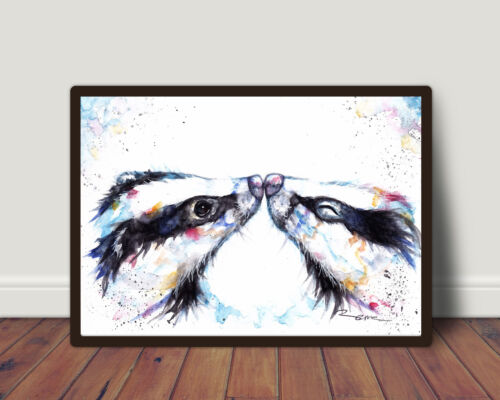 Print wall Watercolour Card Wildlife,Animal,Art Gift Badger,Sale,Original