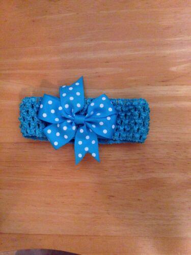 Princess Baby Toddler Headband Hairband Grosgrain Bow Polka Dots Pink Blue UK